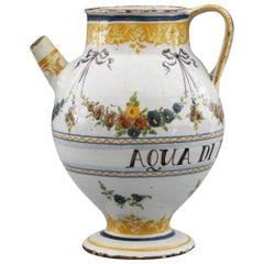 Savona Italian Tin Glazed Polychrome Painted Pottery Syrup Jar