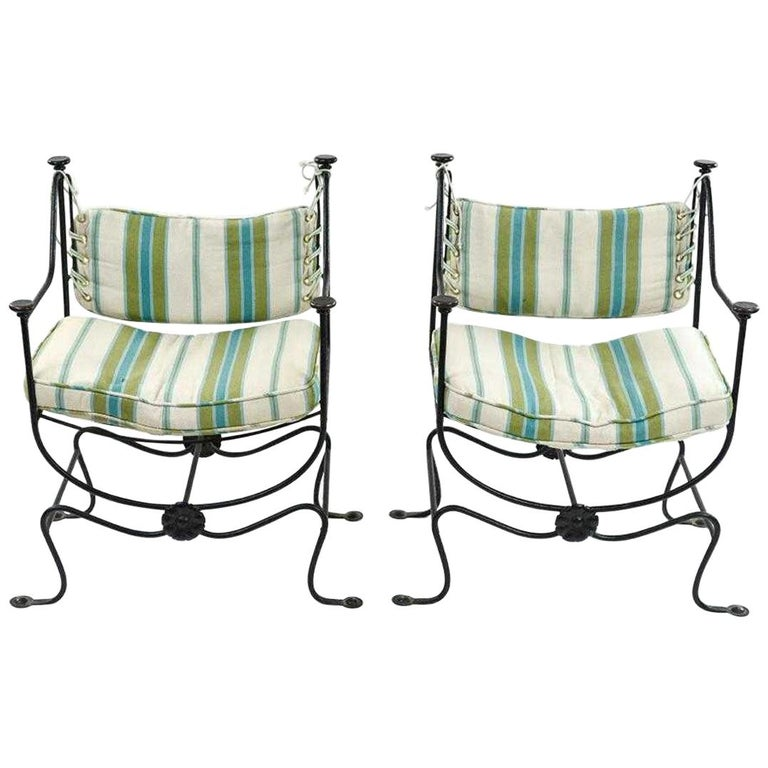 Savonarola Curule Iron and Brass Throne Chairs For Sale