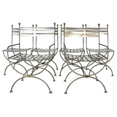 Savonarola Style Steel Dining Chairs