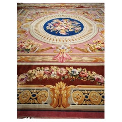 Savonnerie Style Royal Design French Antique Wool Palace Carpet, 19th Century