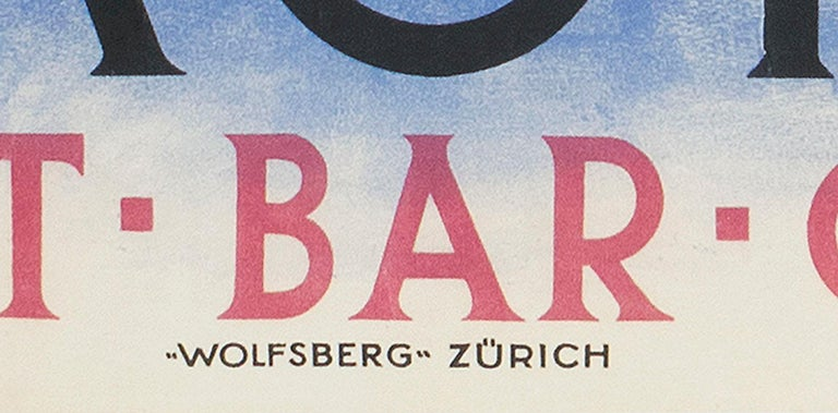Savoy Hotel St. Moritz Original Swiss Art Deco poster by Bickel For Sale 1