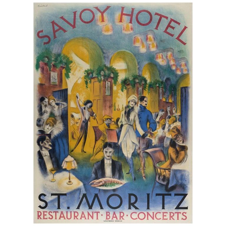 Savoy Hotel St. Moritz Original Swiss Art Deco poster by Bickel For Sale