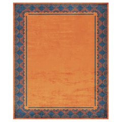 Savoy Noble Orange - Moderm Patterned Hand Knotted Wool Silk Rug