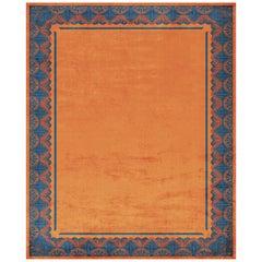 Savoy Noble Orange Hand Knotted Silk Rug 'Large-Size'