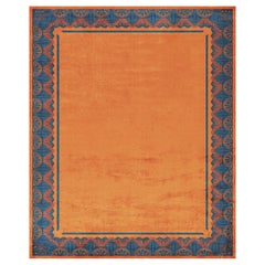 Savoy Noble Orange Hand Knotted Silk Rug 'Medium-Size'