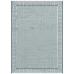 Savoy Stone Blue Hand Knotted Wool and Silk Rug 5 x 8ft