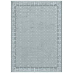 Savoy Stone Blue Hand Knotted Wool and Silk Rug 8 x 10ft