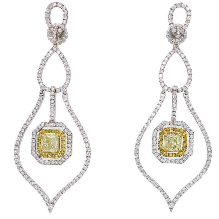 3c1c8ffe9 Savransky GIA Certified Diamond and White Gold Chandelier Dangle Earrings  For Sale