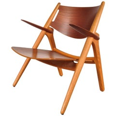Sawbuck Easy Chair by Hans J. Wegner for Carl Hansen & Son, Denmark, circa 1951