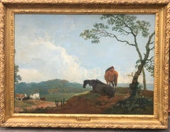 A Romantic 18th Century Landscape with Horses and Cattle