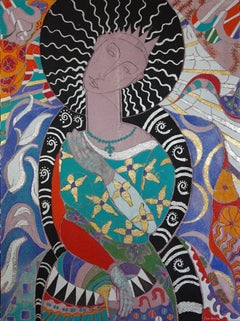 """Bella The Beautiful: Say Amen"". Contemporary Mixed Media Figurative Painting"