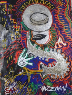 Jazz Man.  Contemporary Large Neo Expressionist Oil Painting