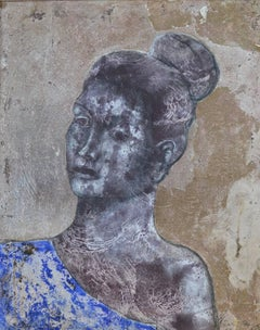 Saphos Queen Of Lesbos. Contemporary Figurative Mixed MediaPainting