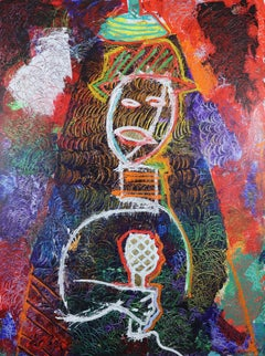 The Jazz Singer.  Contemporary Large Neo Expressionist Oil Painting