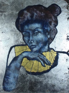 The Poet: Contemporary Mixed Media Figurative Oil Painting. Gold and Silver Leaf