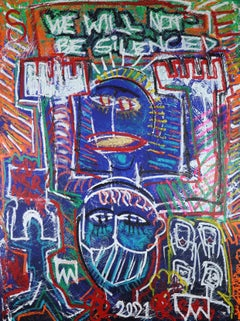 WE WILL NOT BE SiLENCED ( The Golden Voice).   Neo Expressionist Painting