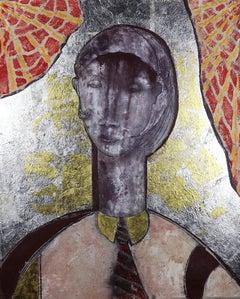 21st Century Mona Lisa.   Contemporary Mixed Media Painting