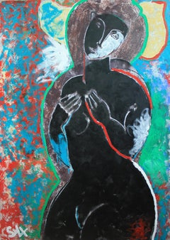 """Black Narcissus""  Contemporary Mixed Media Figurative Painting"