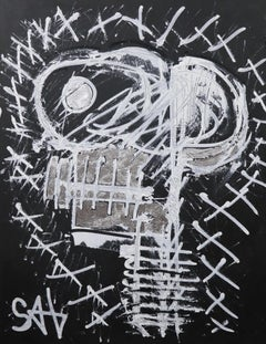 Black Skull.  Contemporary Neo-Expressionist Painting