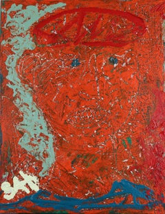 Blue Eyed Guardian. Contemporary Neo Expressionist Oil Painting