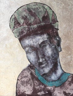 Blue Harlequin. Contemporary Mixed Media Figurative Painting