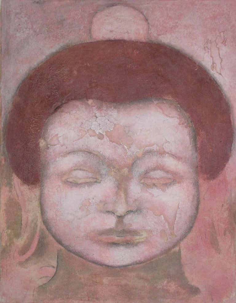 Sax Berlin Portrait Painting - Cracked Buddha. Contemporary Buddha Painting