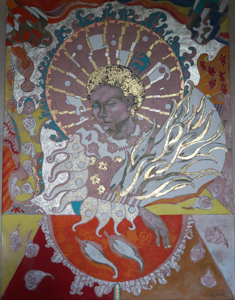 Berlin's series of remarkable images of mythically, spiritual women is now augmented by this latest work. The Inner Heart to the Dove of Peace is an intense piece, a paean of hope. His use of flower motifs throughout accentuate the paintings sense