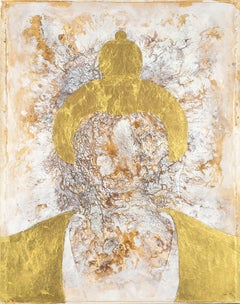 Golden Buddha:  Oil and Gold Leaf on Canvas