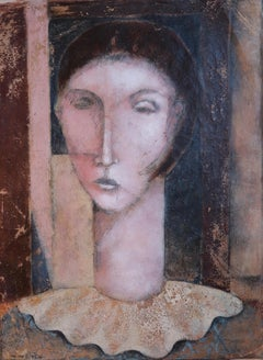 """""""Mademoiselle and the Collar of Lace"""". Contemporary Figurative Oil painting"""