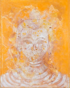 """Saffron Buddha"", contemporary buddha painting, oil on canvas"