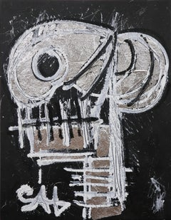 Silver Skull.  Contemporary Neo-Expressionist Painting