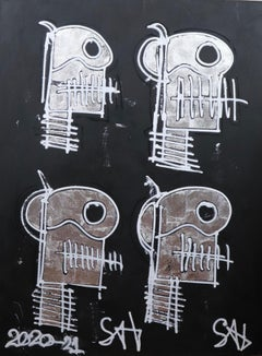 Silver Skulls.  Contemporary Neo-Expressionist Painting
