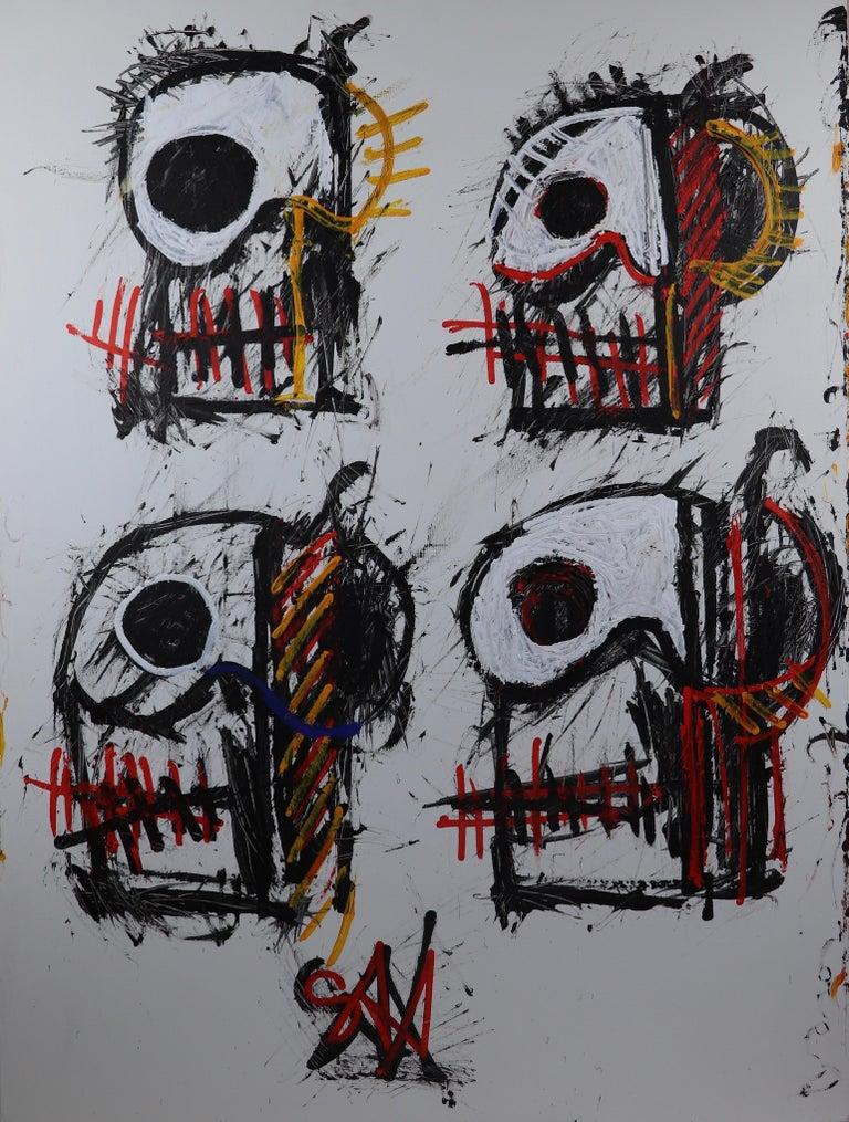 Sax Berlin Abstract Painting - Skulls (Mortality)