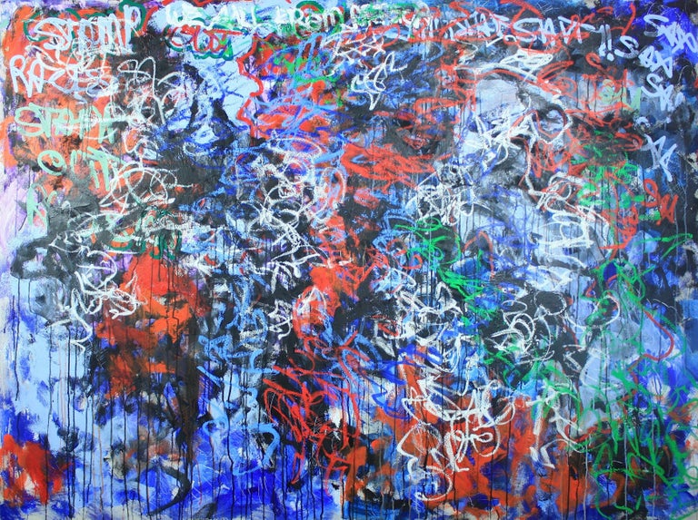 Sax Berlin Abstract Painting - Stamp Out Racism. We All From Africa