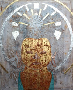 The Buddha Of Peace. Contemporary Figurative Mixed Media Painting
