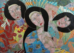"""The Wisdom In Women"".     Contemporary Mixed Media Figurative Painting"
