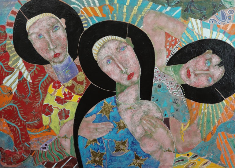 """The Wisdom In Women"".     Contemporary Mixed Media Figurative Painting - Mixed Media Art by Sax Berlin"