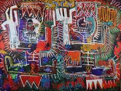 Wisdom of Washington:  Large Neo-expressionist Oil Painting