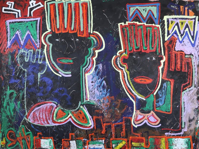 Painted in Sax Berlin's iconic Sharp Edge style, Wise Up displays motif's from Africa, see the display of flags at the bottom of the canvas for example, and instantly recognisable symbols from Western popular culture. Berlin strives to enlighten one