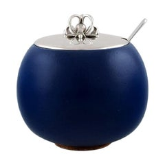 Saxbo / Hans Hansen, Jam Jar in Glazed Ceramics with Lid and Spoon in Silver