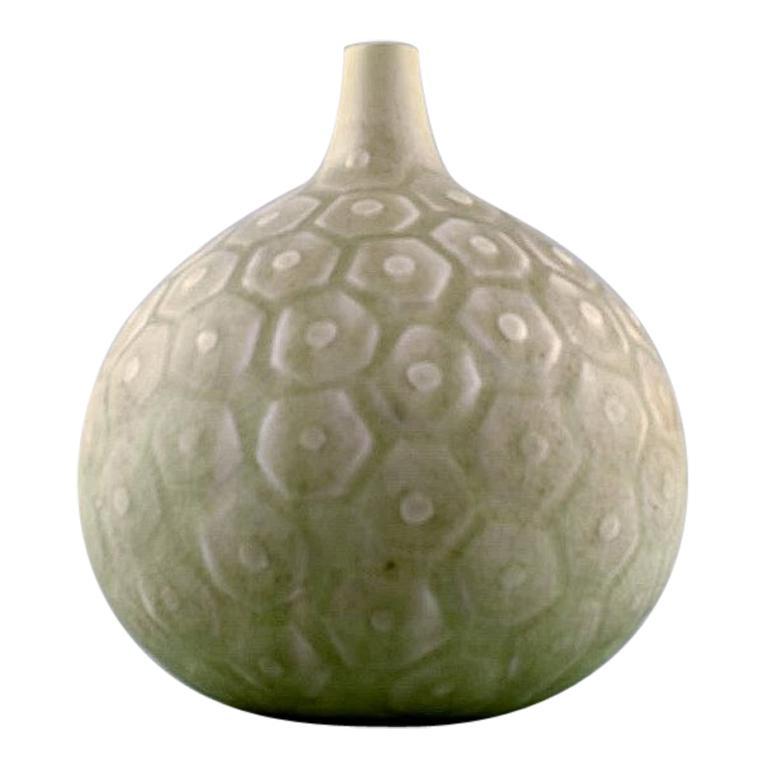 Saxbo, Large round vase with geometric pattern, 1940s-1950s. For Sale
