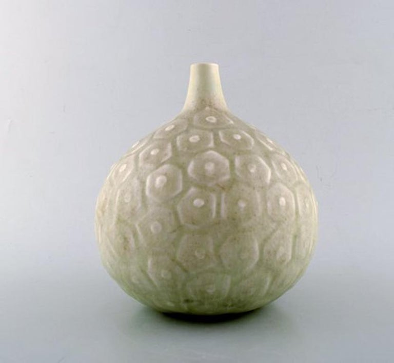 Saxbo. Large round vase with geometric pattern. Narrow neck. Beautiful glaze in light gray and green shades. Rare model, 1940s-1950s.