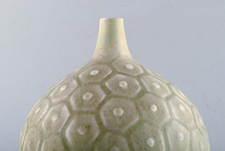 Scandinavian Modern Saxbo, Large round vase with geometric pattern, 1940s-1950s. For Sale