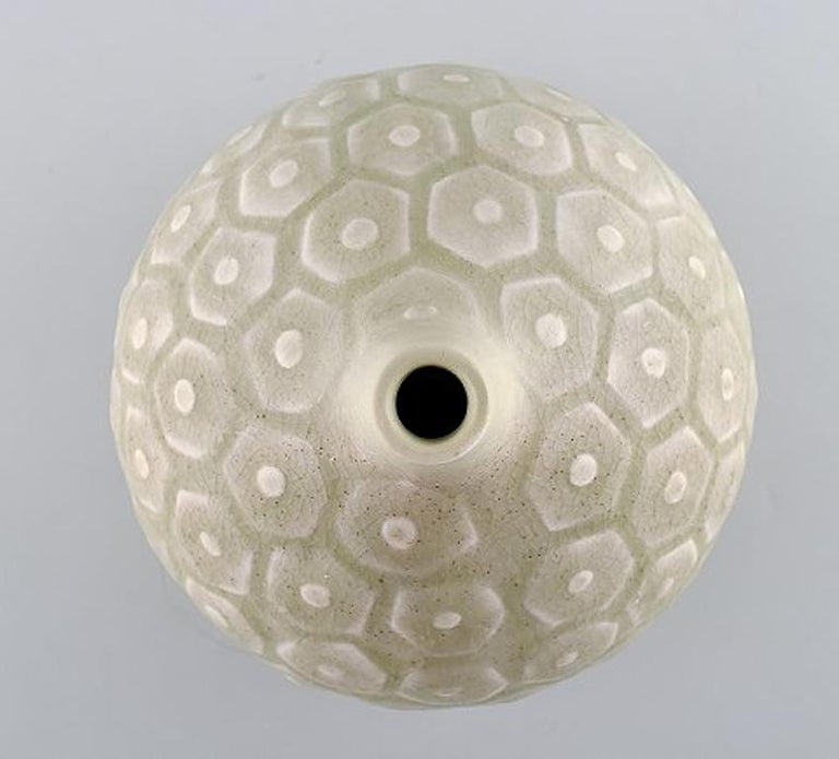 Saxbo, Large round vase with geometric pattern, 1940s-1950s. In Good Condition For Sale In Copenhagen, Denmark