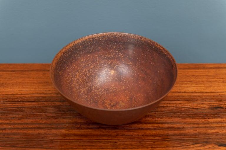 Scandinavian Modern Saxbo stoneware ceramic bowl or vase, signed.