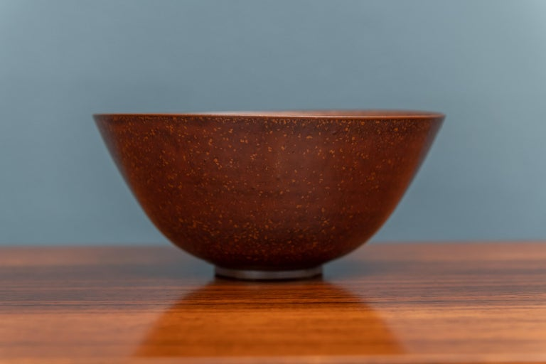 Scandinavian Modern Saxbo Stoneware Ceramic Bowl, Denmark For Sale