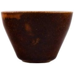 Saxbo Stoneware Vase in Modern Design, Glaze in Brown Shades