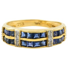 Saya 18 Karat Yellow Gold Diamond and Sapphire Ladies Band Ring
