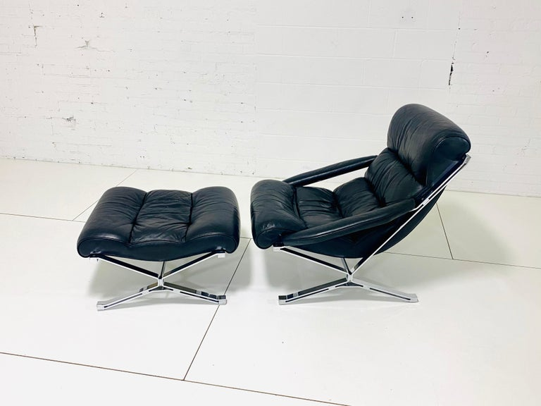 "Sayonara"" chair and ottoman by Giulio Moscatelli, 1960s Produced by Formanova. Heavy chrome frame with rich thick leather In excellent condition."