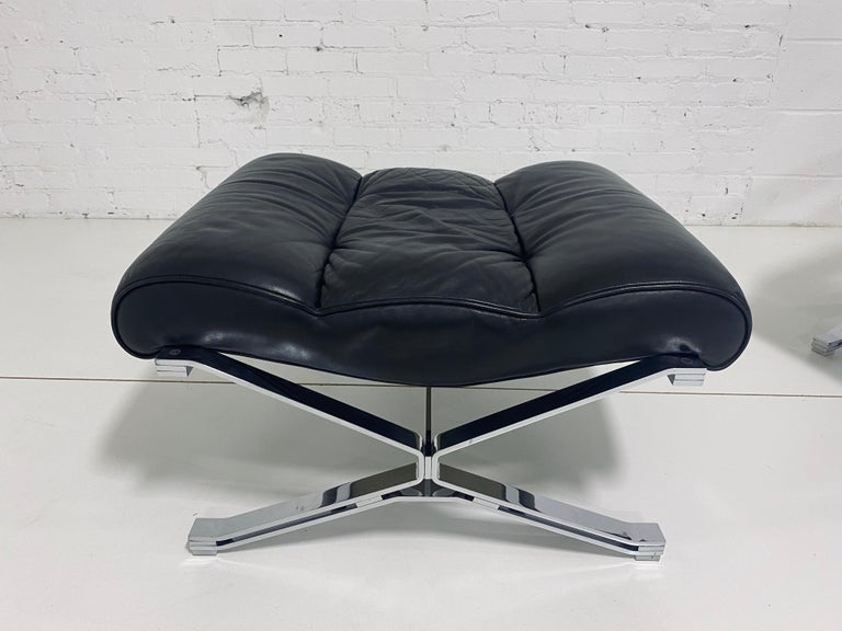 "Leather ""Sayonara"" Chair and Ottoman by Giulio Moscatelli, 1960s For Sale"